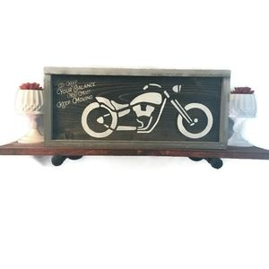 Hand Crafted Motorcycle Accent Wood Sign Wall Art